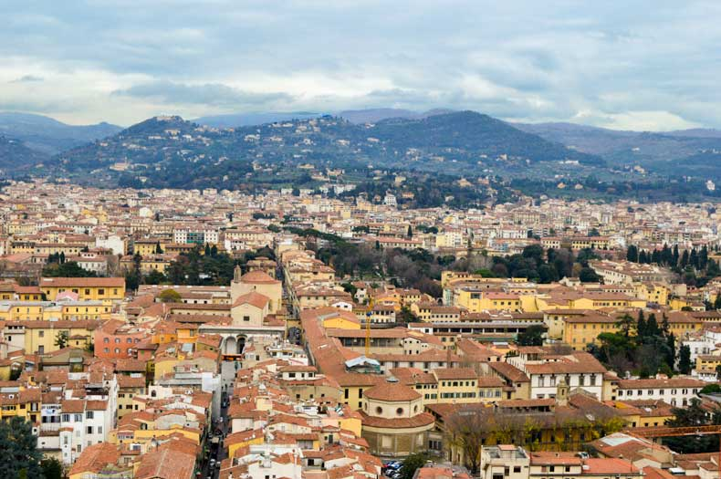 View of Florence from the cupola, with the Apennine Mountains in the distance