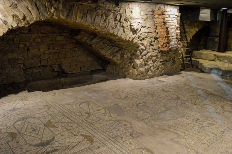 The catacombs of Santa Maria del Fiore. Here you see the mosaic floor of the old Saint Reparata church.