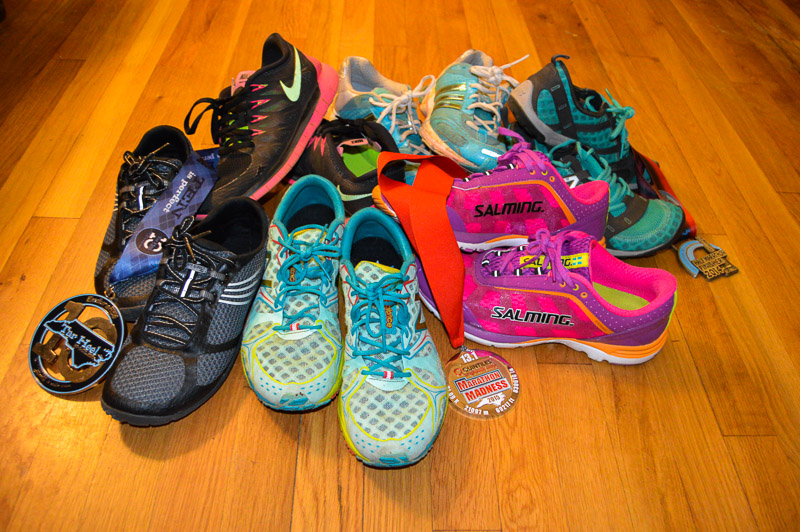 Running means accumulating running things. I've had a stash of old and new running shoes for a long time from my first Adidas Glide to my New Balance W1400 and Samling Distance, but I've just started accumulating those flashy finisher medals.