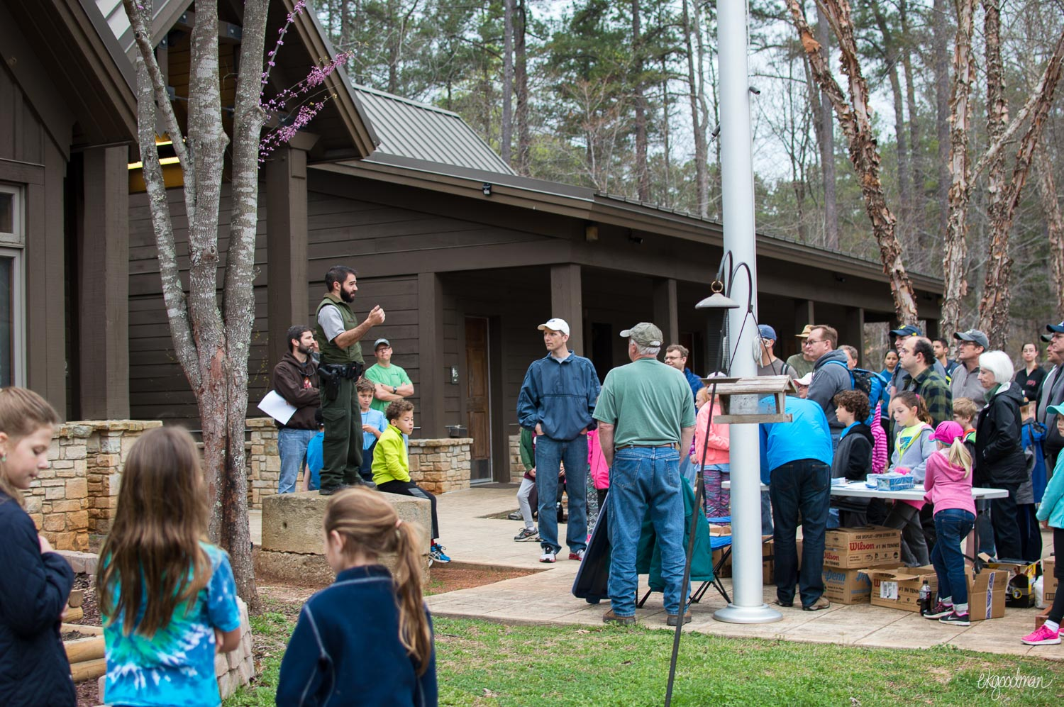 A park ranger gives his spiel on the park history and watershed.