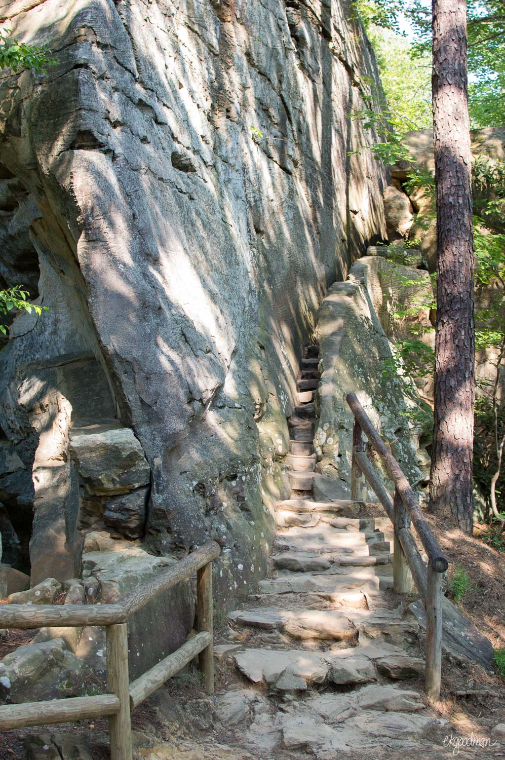 Stone steps lead to the summit
