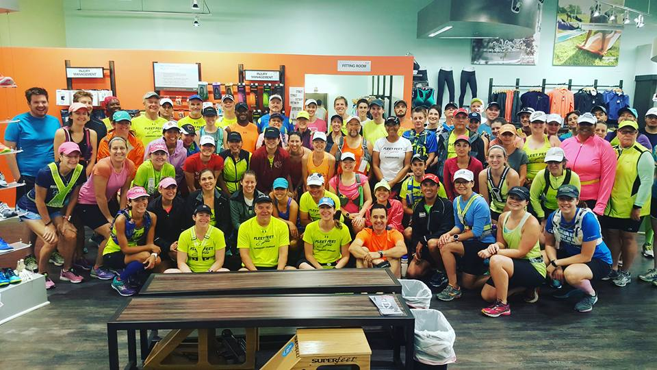 Fleet Feet Carrboro/Durham Half/Full Marathon Fall 2016 Training Group - at least those who showed up to run through the hurricane! Photo cred: Fleet Feet Durham folks