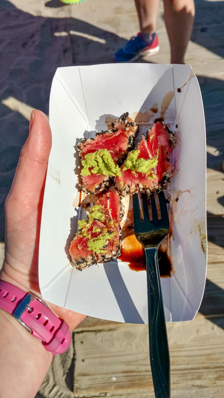 Some tasty tasty tuna. (They had BBQ sandwiches and beer too. And sweet tea. Mmm sweet tea!!)