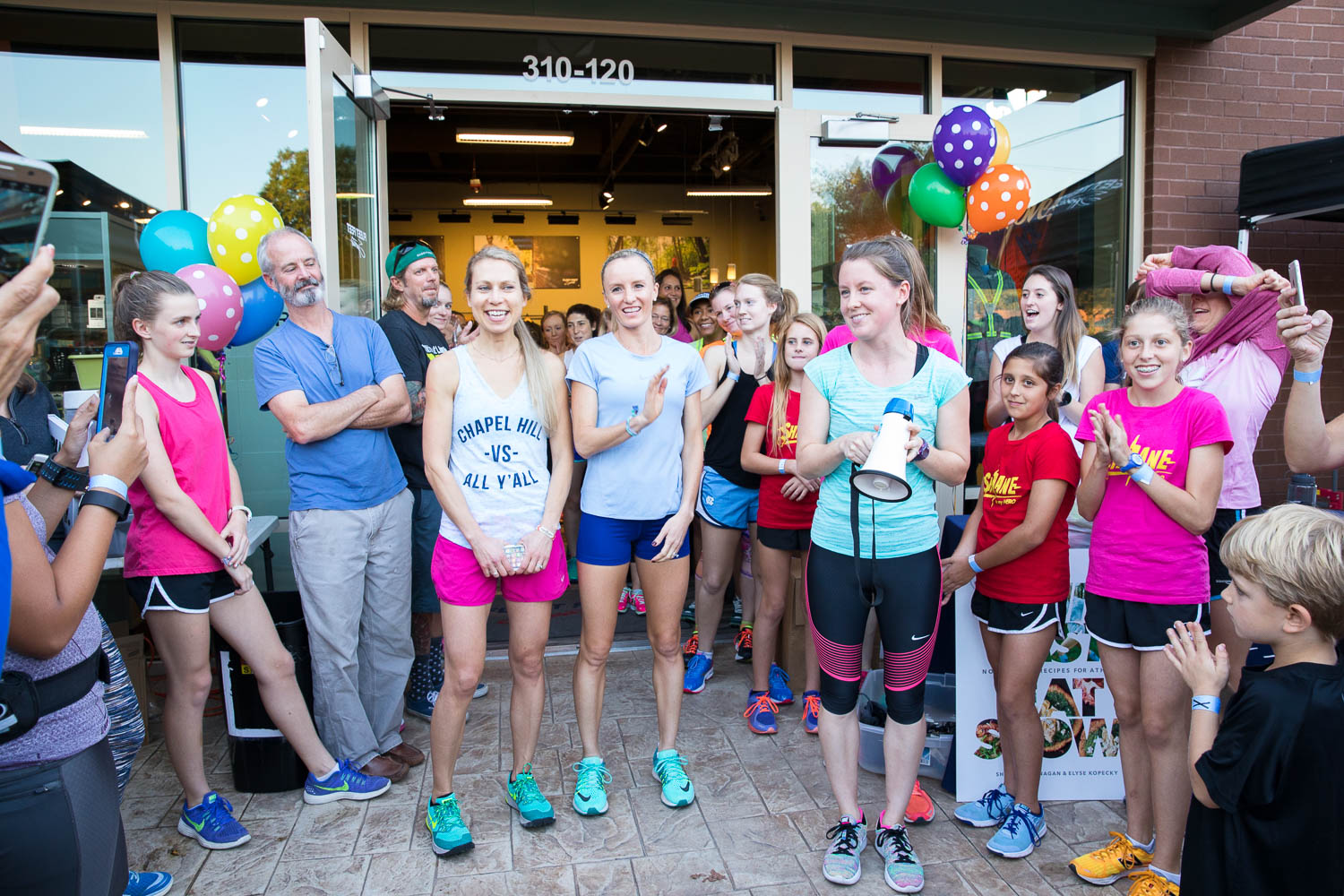 Shalane Flanagan and Elyse Kopecky at Fleet Feet Carrboro - Run Fast Eat Slow