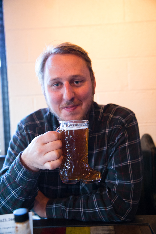 Supper - McCrae enjoying a beer