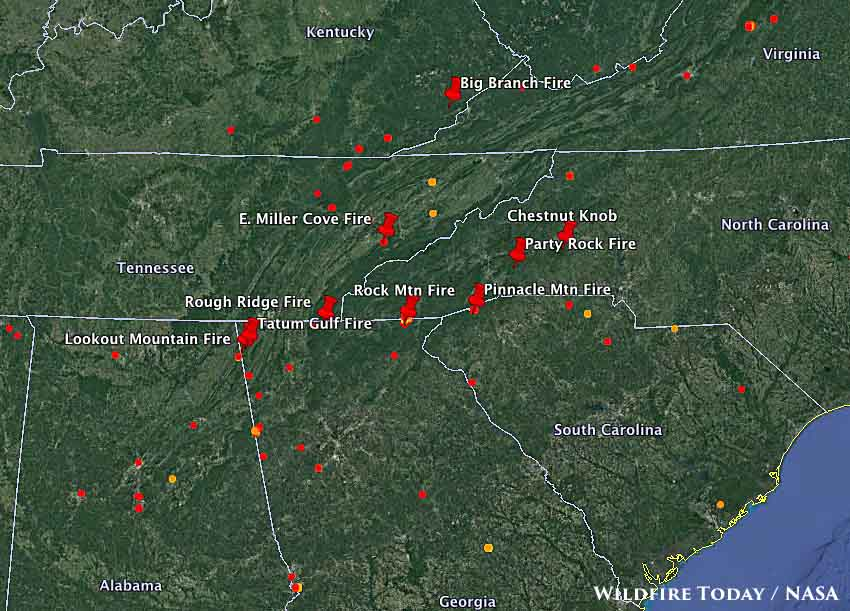 Map showing the location of some of the large fires in the southern states. The red dots represent heat detected by a satellite at 2:22 am November 21, 2016. Source:  http://wildfiretoday.com/tag/north-carolina/