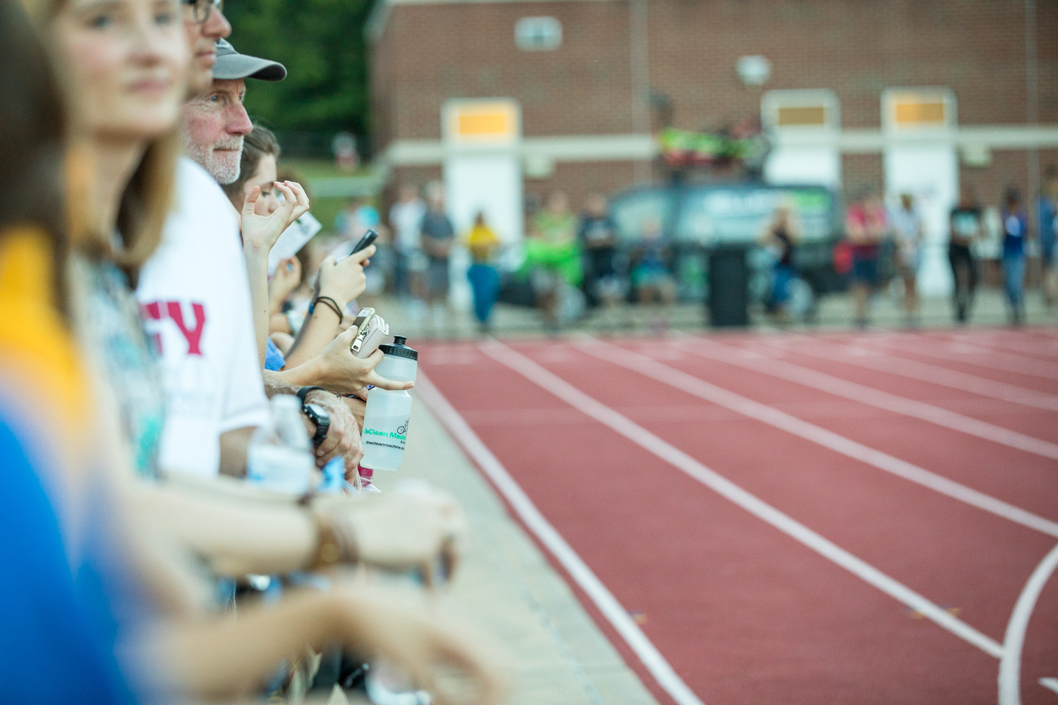 Spectators gather before the start of Sir Walter Miler races