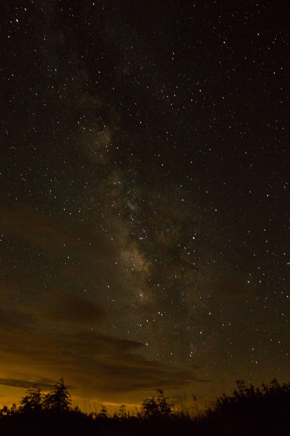 Since the cloud cover was blocking the view of the Perseids meteor shower I played around with taking a photo of the Milky Way