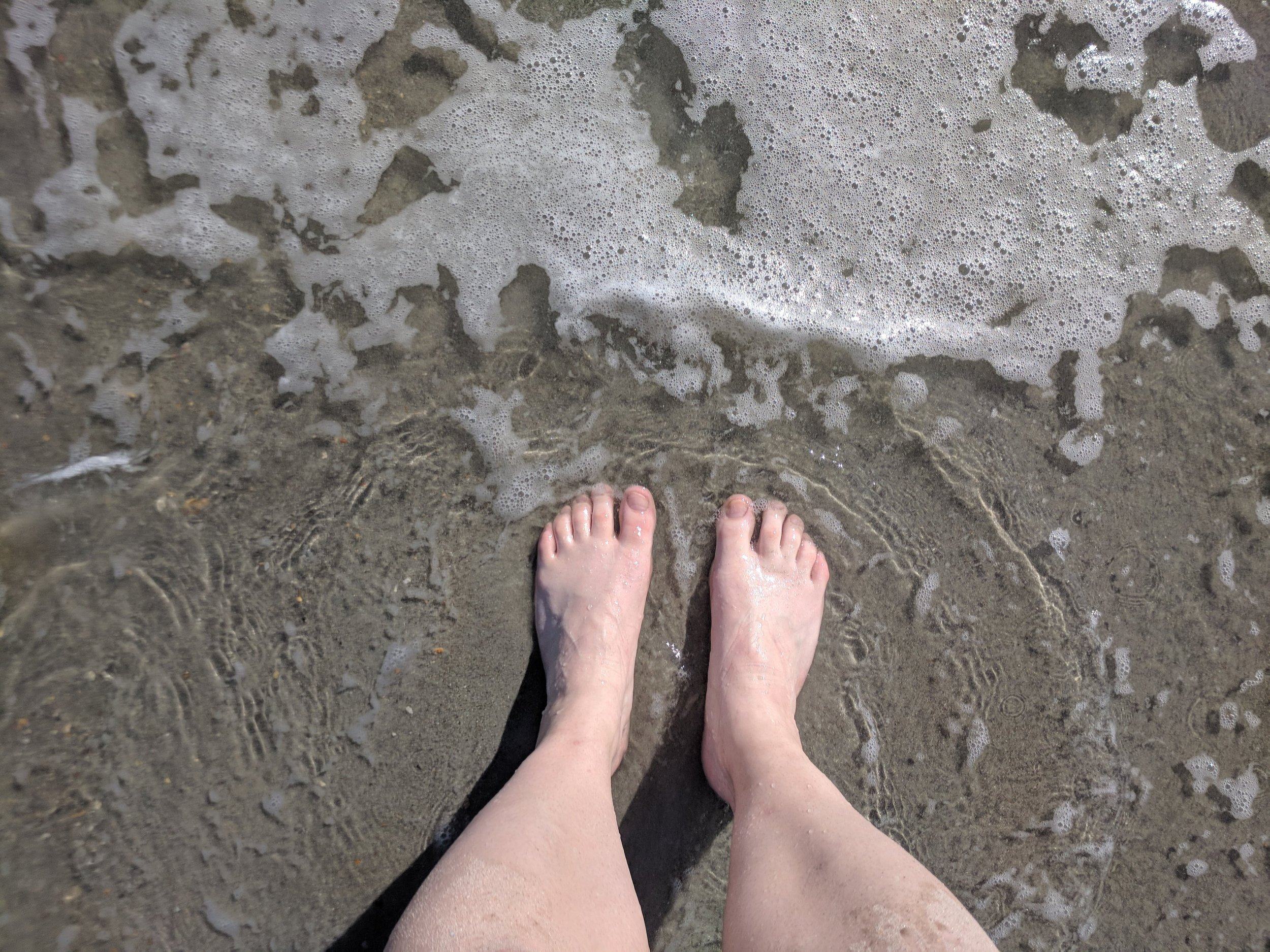I ran all the way to the beach so I might as well stick my toes in the water.