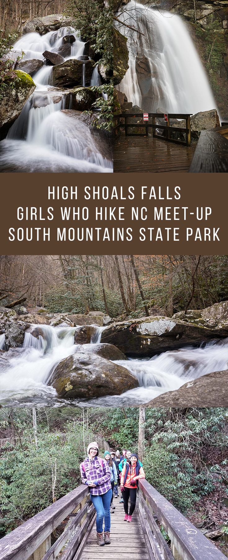 High Shoals Falls trail in South Mountains State Park, NC is a beautifully scenic trail with a 60-foot waterfall!