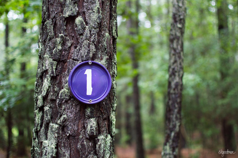 Trail marker at Carolina North.