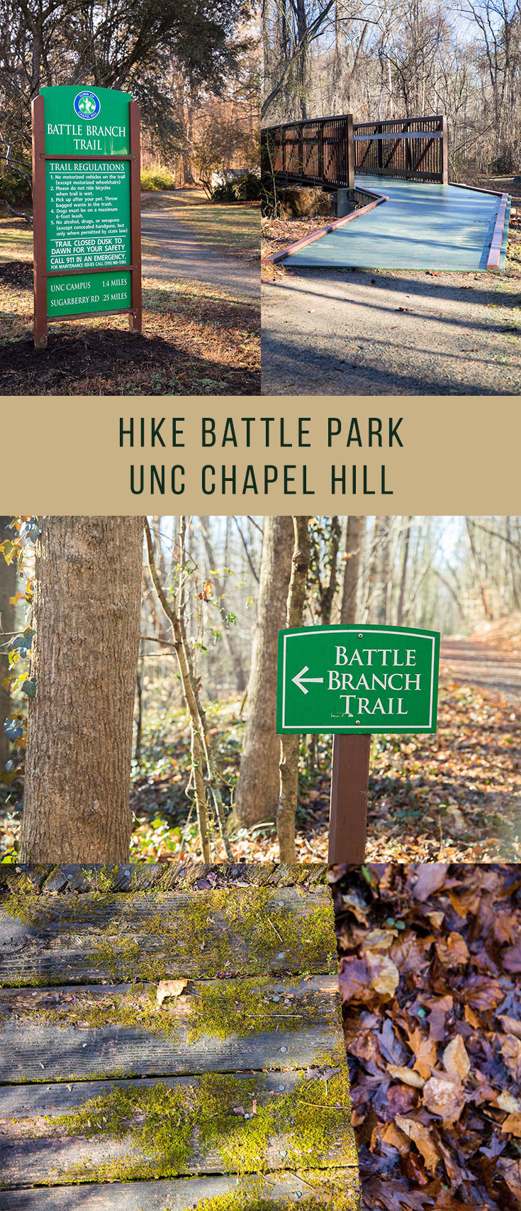 Battle Park is a 93 acre on campus at UNC Chapel Hill. Battle Branch Trail connects Battle Park and the Chapel Hill Community Center, and you can loop various trails together in Battle Park for a range of mileage for a great hike!