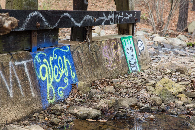Railroad bridge in Adams Tract in Carrboro