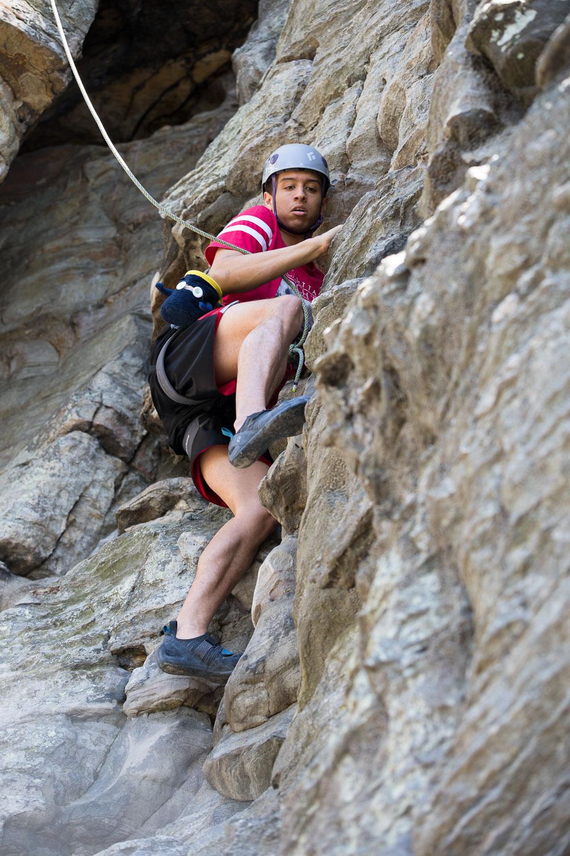 Christian climbing at Pilot Mountain