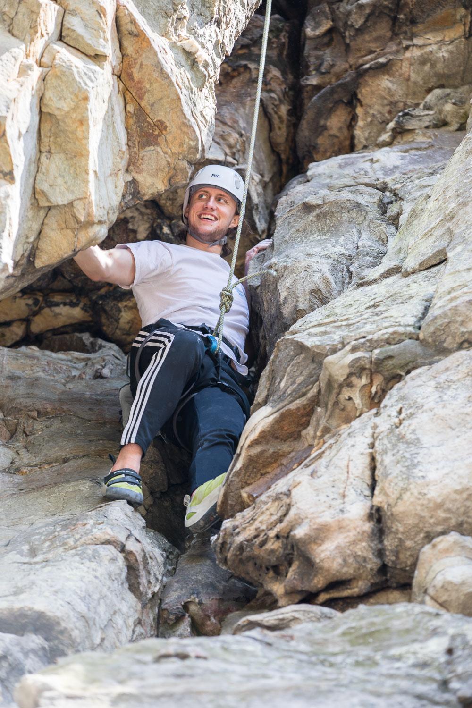 Luke climbing at Pilot Mountain