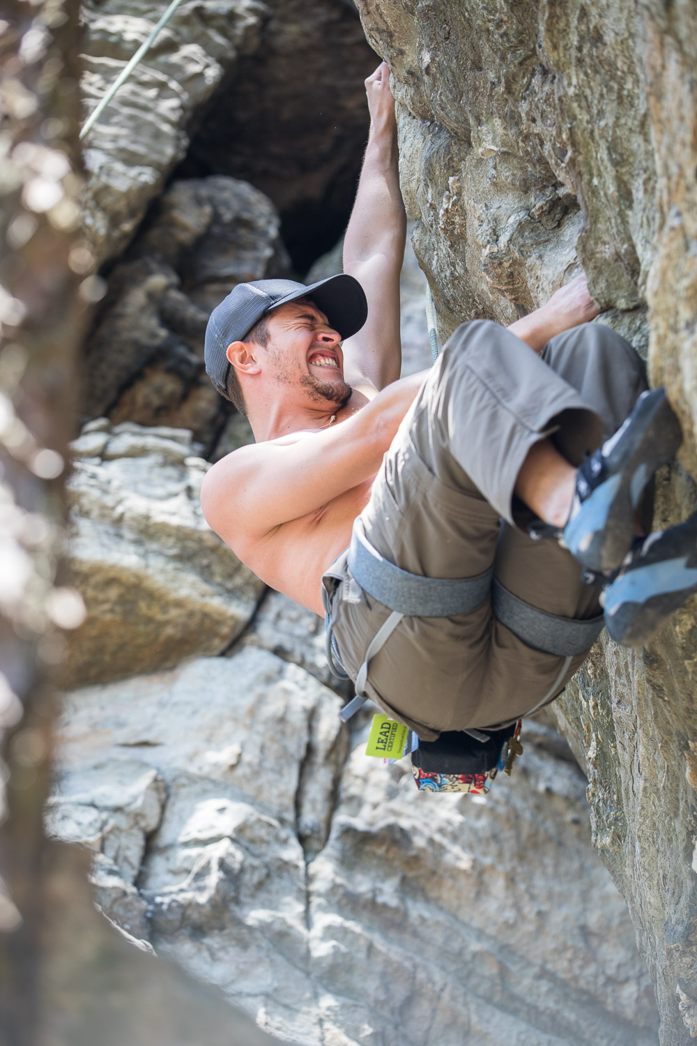 Emmanuel tried to turn a 5.5 route into a 5.10 route by going over a boulder instead of around it. Work it, Emmanuel!