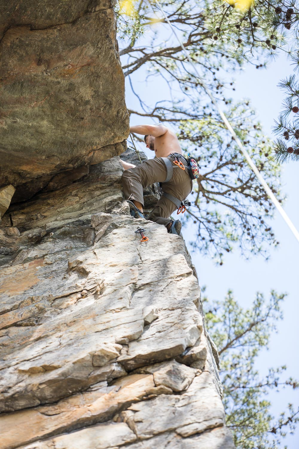 """Emmanuel on the arete on the 5.7 route """"Pole Dancer"""""""