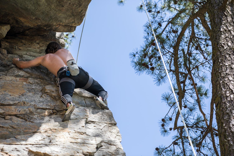 """Luke climbing """"Pole Dancer"""""""