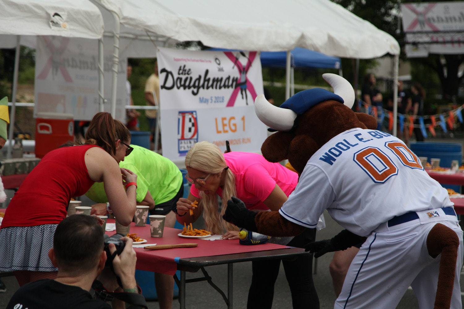 Wool E. Bull (Durham Bulls baseball team mascot) made an appearance to cheer on Jill and other competitors! Photo courtesy of Michael Peace.