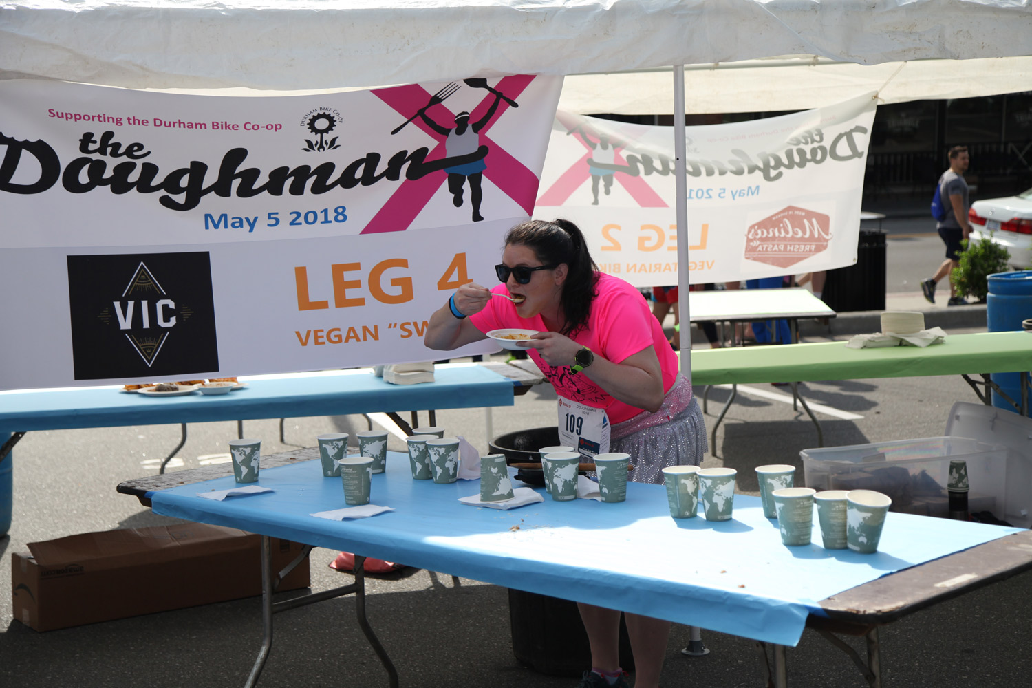 Eating my daal for the fourth leg of Doughman X.Photo courtesy of Michael Peace.
