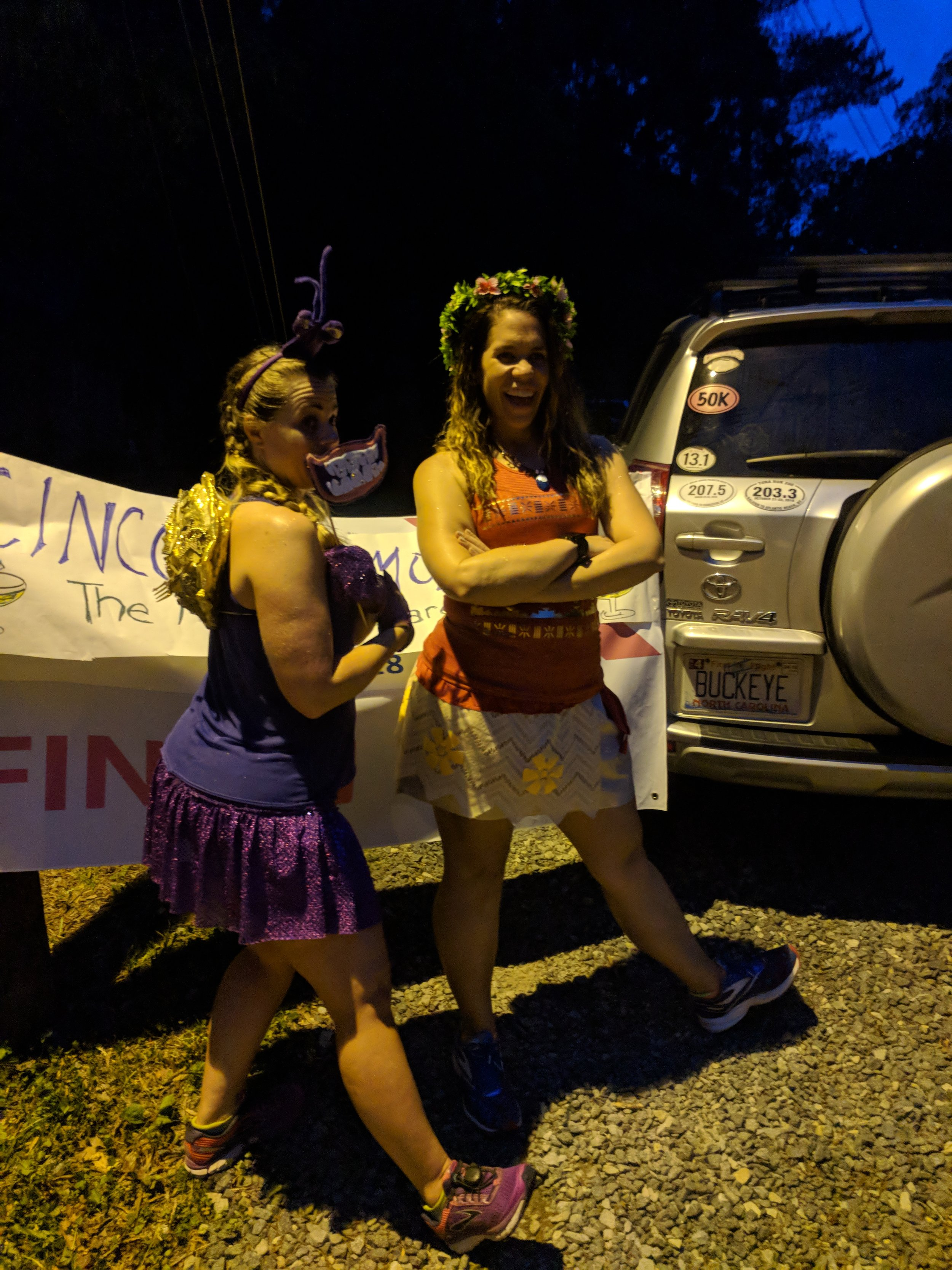 """The race was Moana-themed, so Heather dressed up as the crab (""""I'm shiny!!"""") and Jill had an awesome Moana outfit!"""