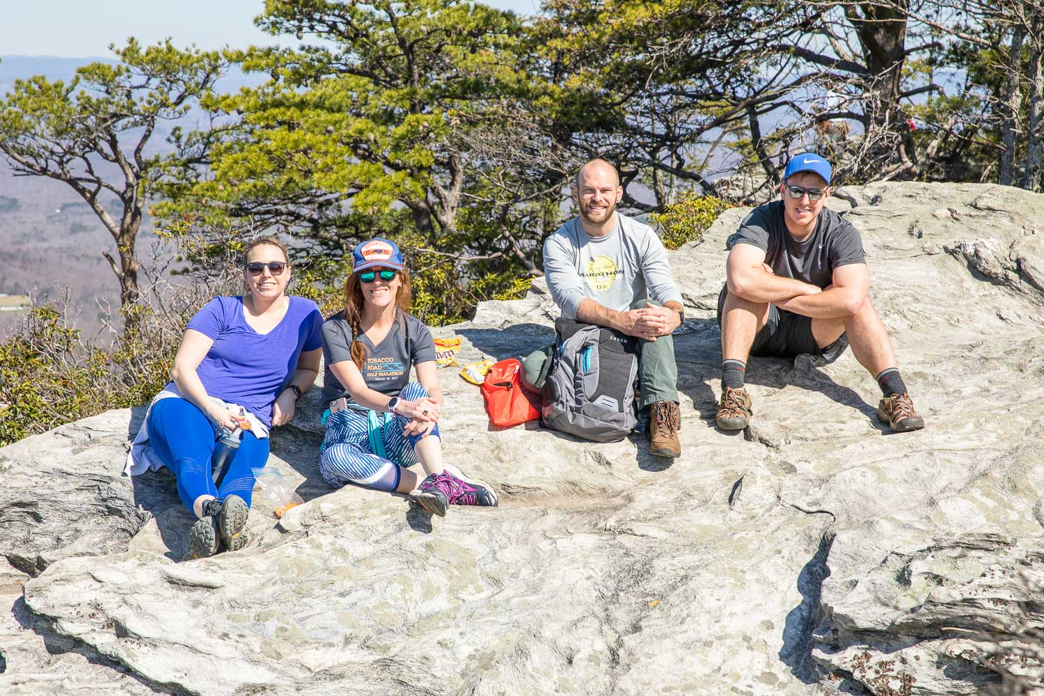 Some of the hiking group at the summit of Hanging Rock (10am hike)