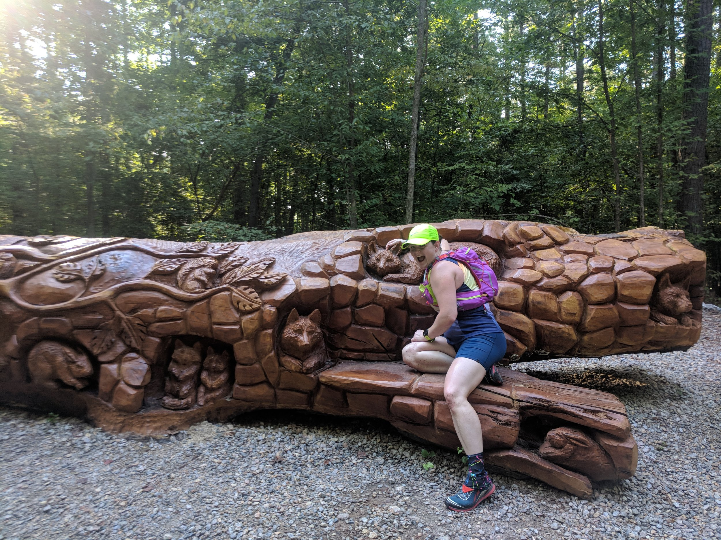 Checking out a carved tree at Umstead State Park on a trail run. Definitely being a dirty hippie hiker runner. Photo Credit: Probably Heather or Jill