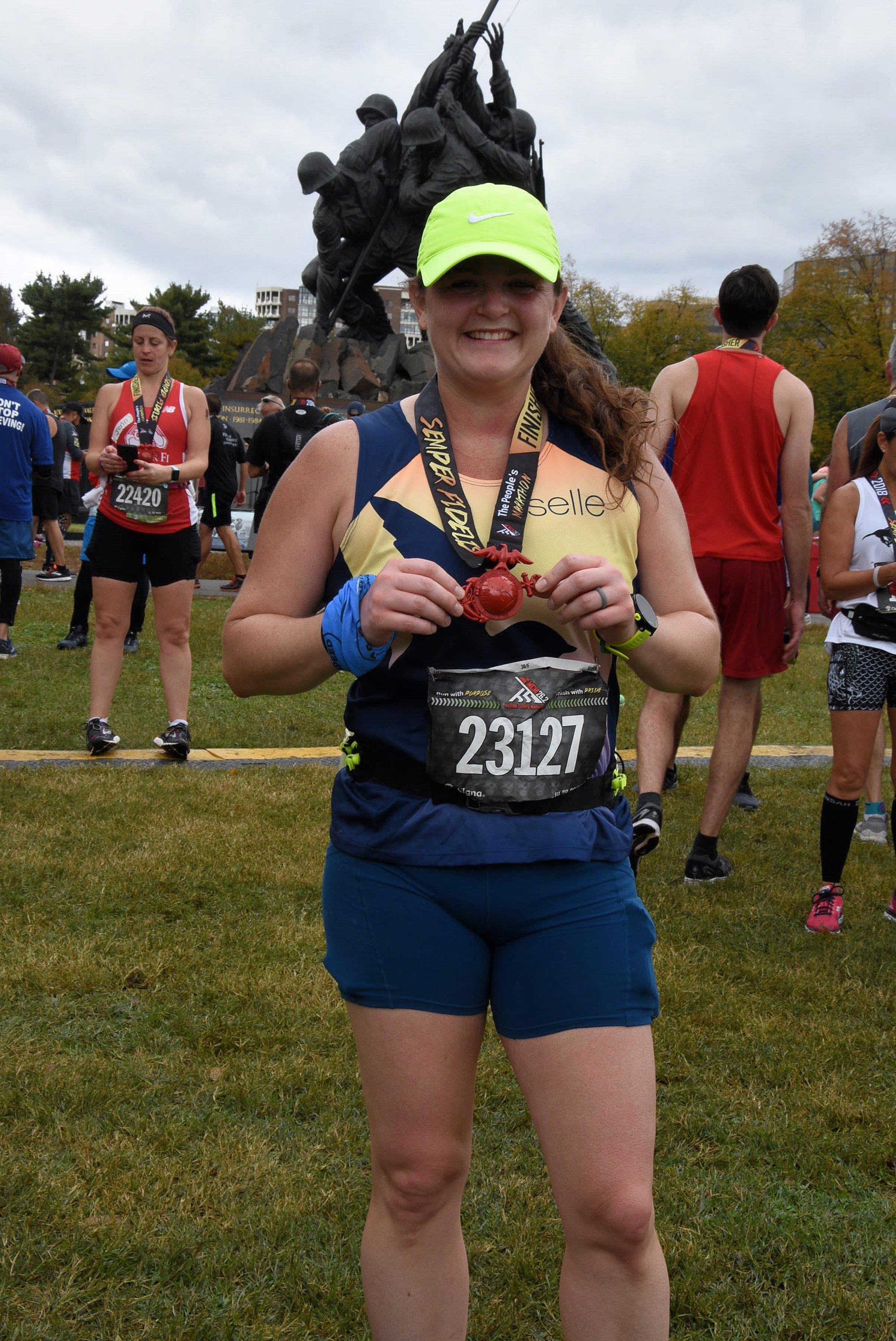 Finisher photo at MCM. (photo purchased for use from Marathon Foto).
