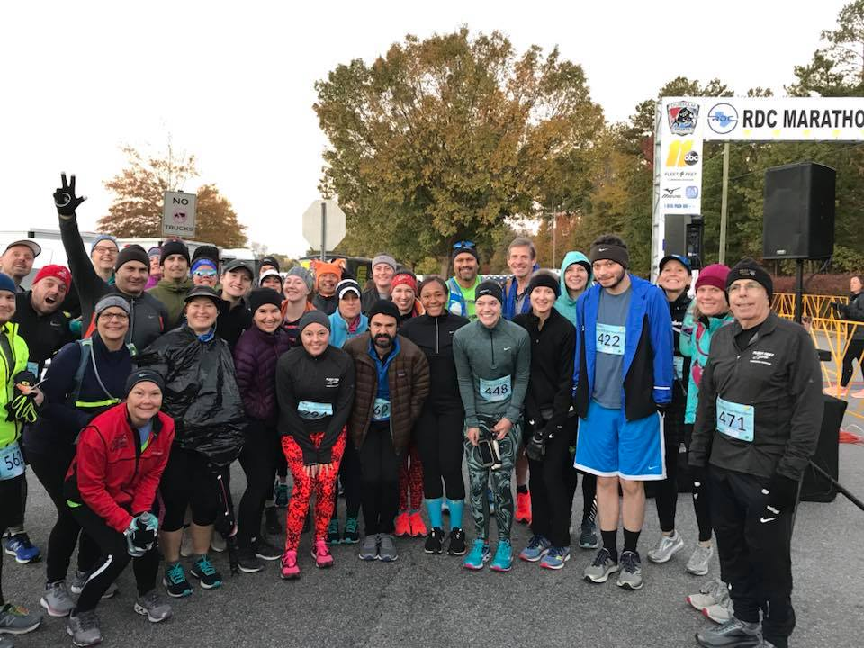 Fleet Feet Half and Full Marathon Runners at RDC! Clearly I did not show up to the race start line early enough to be in this photo, ha! #LastMinuteLiz