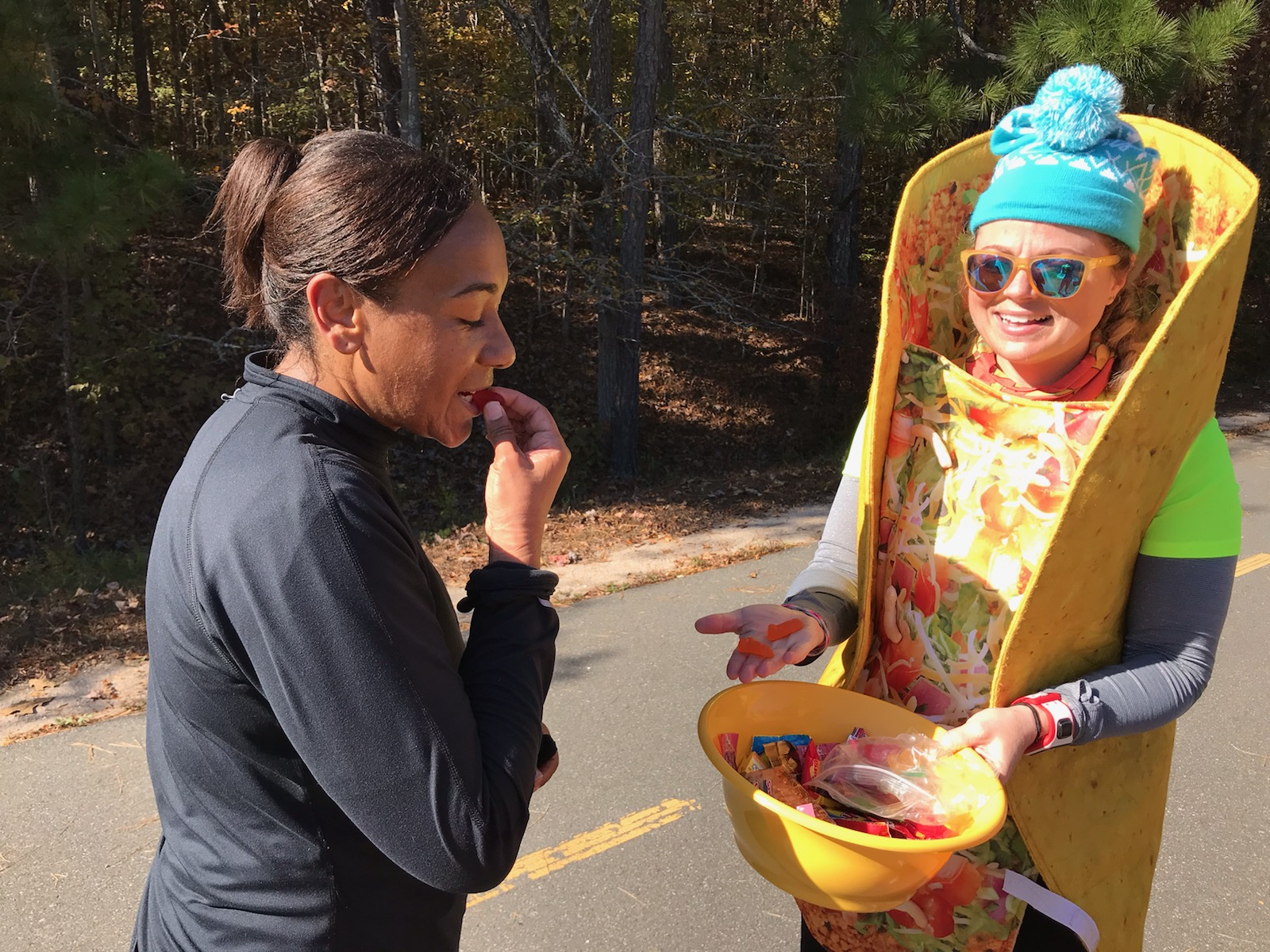 Crystal at least was a good sport; she paused on her marathon to sample Heather's dick gummies