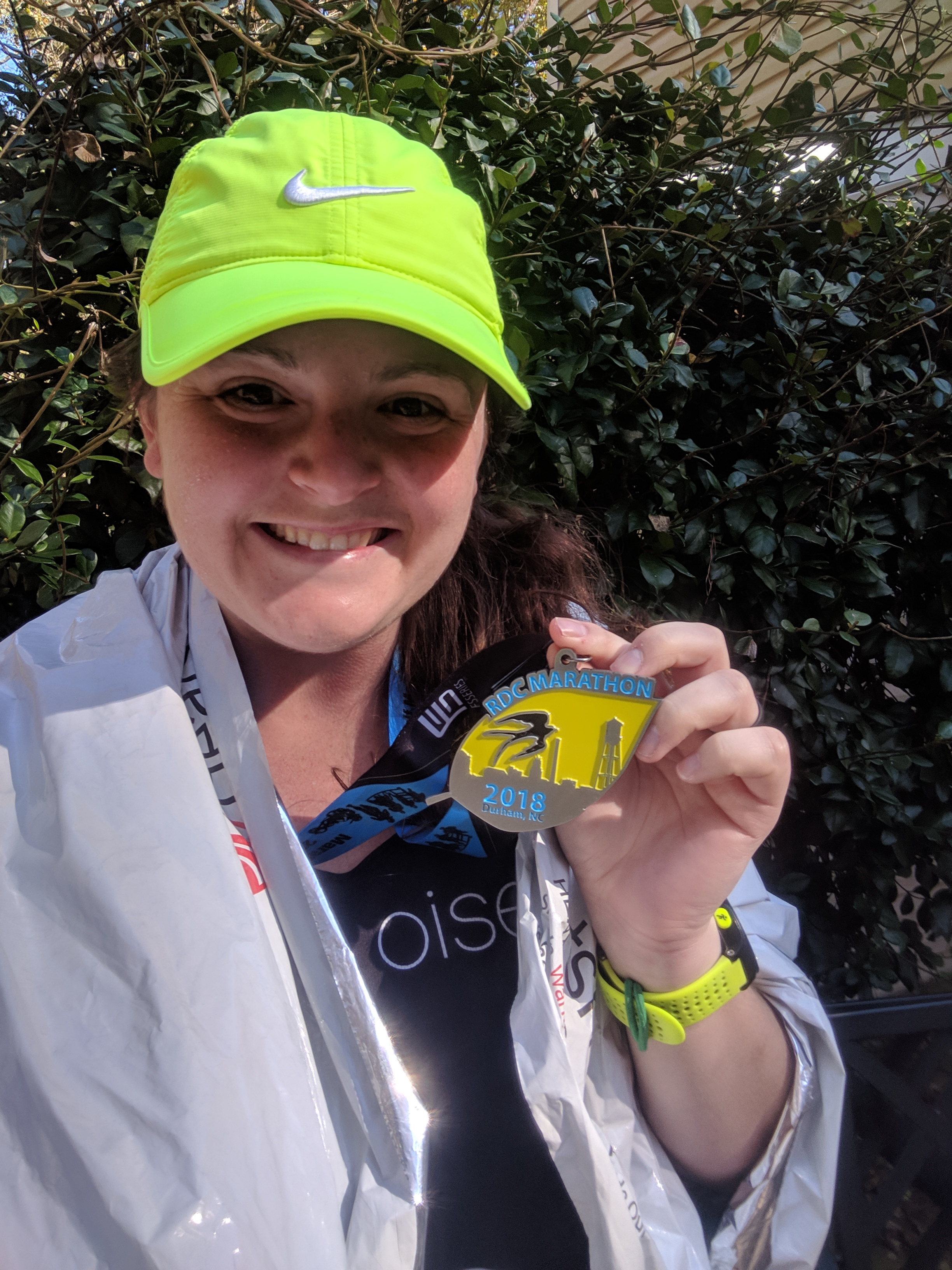 Post-race selfie! I went back to claim a space blanket and then snapped this last pick when I got home from the race. Yay!