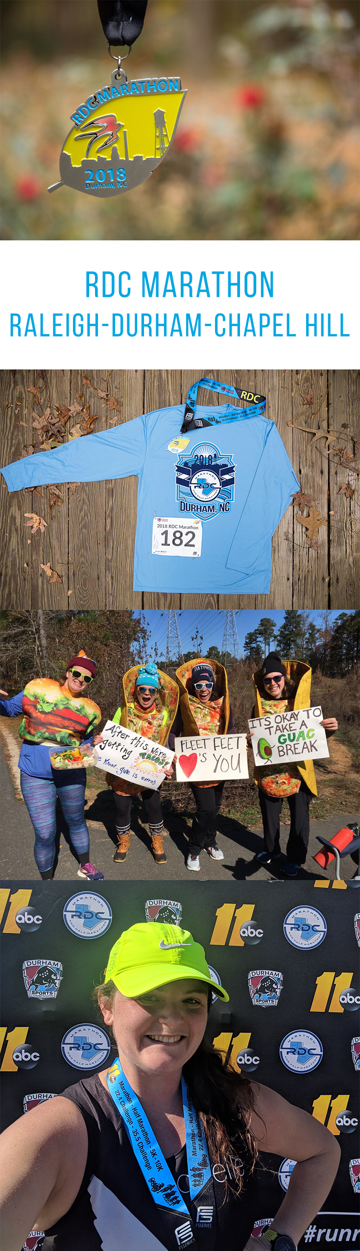 RDC Marathon: The RDC (Raleigh-Durham-Chapel Hill) Marathon is a fun local race on the beautiful American Tobacco Trail greenway with great local support and fast times!