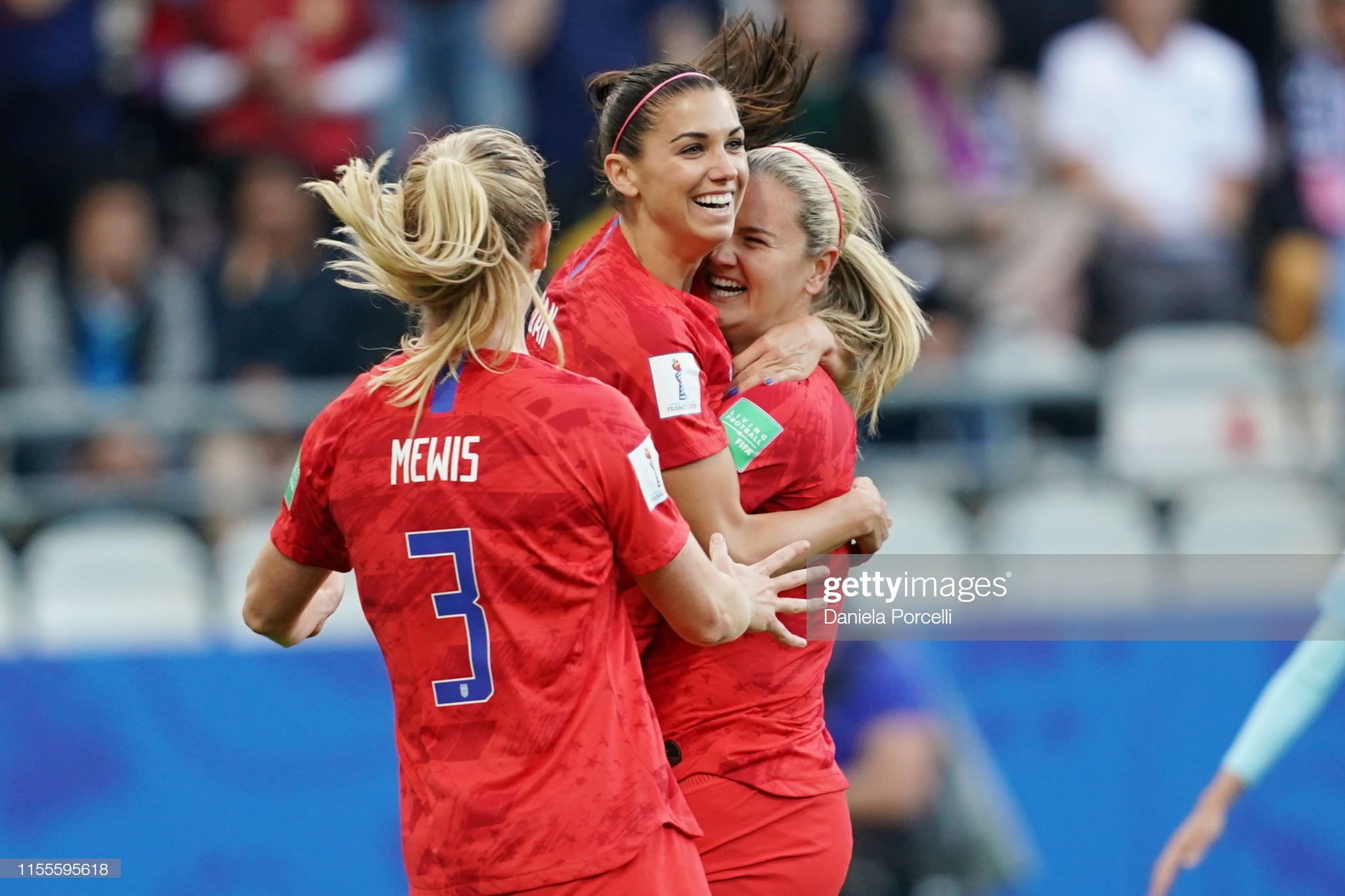 USA v Thailand: Group F - 2019 FIFA Women's World Cup France  REIMS, FRANCE - JUNE 11: Alex Morgan of the USA celebrates scoring her first goal, which gets called of because of offside during the 2019 FIFA Women's World Cup France group F match between USA and Thailand at Stade Auguste Delaune on June 11, 2019 in Reims, France. (Photo by Daniela Porcelli/Getty Images)