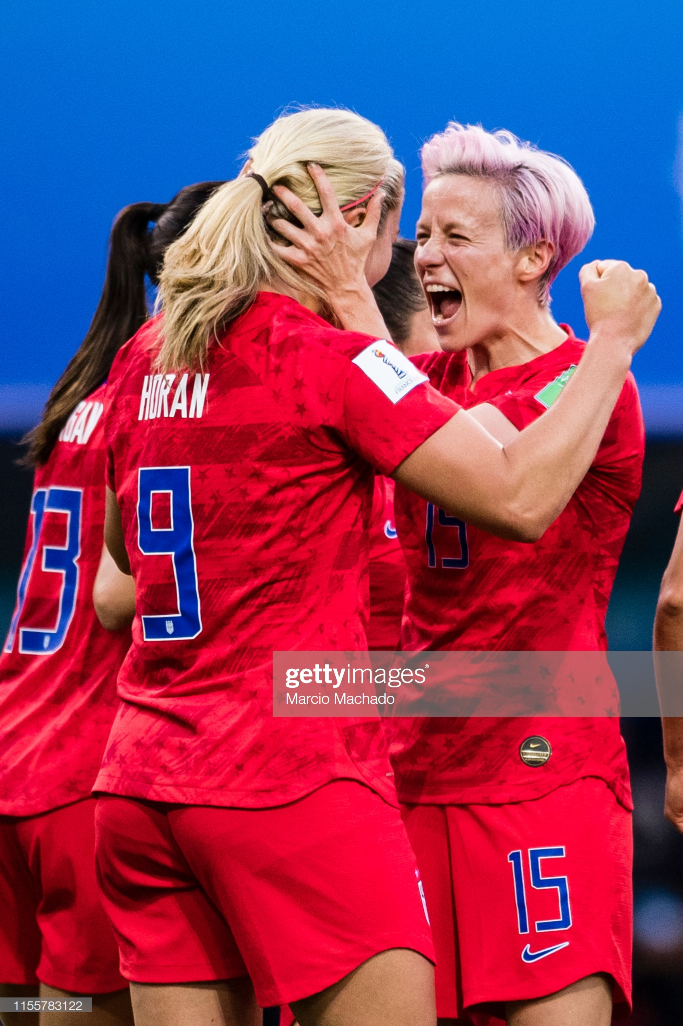 USA v Thailand: Group F - 2019 FIFA Women's World Cup France  REIMS, FRANCE - JUNE 11: Lindsey Horan of United States (L) celebrates a goal with Megan Rapinoe (R) during the 2019 FIFA Women's World Cup France group F match between USA and Thailand at Stade Auguste Delaune on June 11, 2019 in Reims, France. (Photo by Marcio Machado/Getty Images)