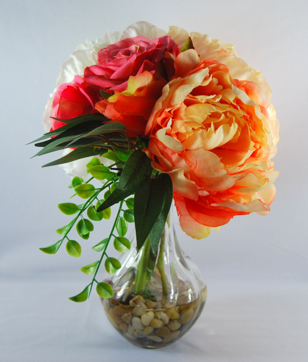 Spring Floral Arrangement Silk Peonies In Glass Vase Peach Peony White Peony And Roses In Glass Vase With Artificial Water Floral Designs By Alka