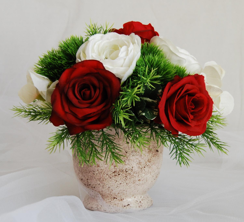 Silk Fl Arrangement Faux Red Roses