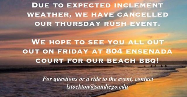 We are sorry to announce that, due to weather, we are cancelling our Thursday (Feb 14th) event scheduled for the USD pool deck. Make sure to get out to the bbq on Friday as it is our last open event!