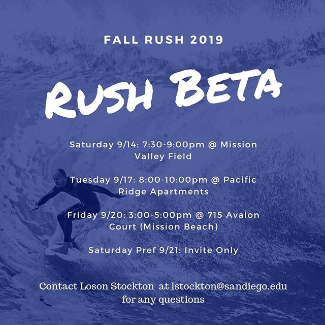 Fall Rush Kicks Off This Week! Here's our schedule. Get out there and meet some guys🌊🏄🏻♂️