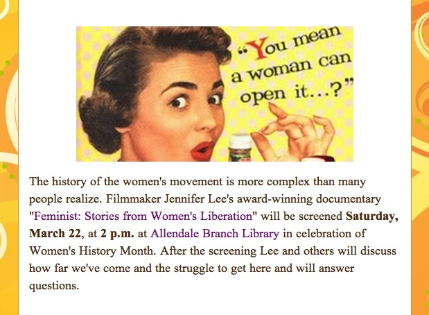 Ann Erdman's blog post on the Allendale Branch Library Screening