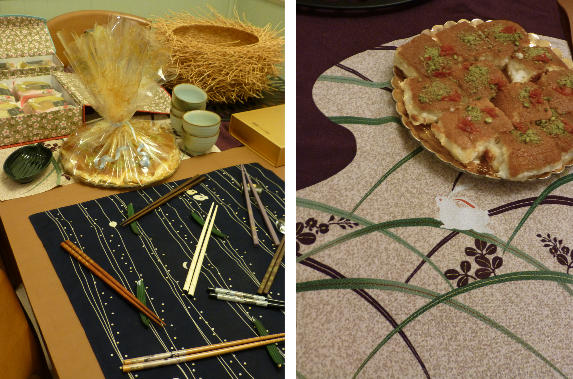 The table set with chopsticks, moon cakes and Arabic sweets.