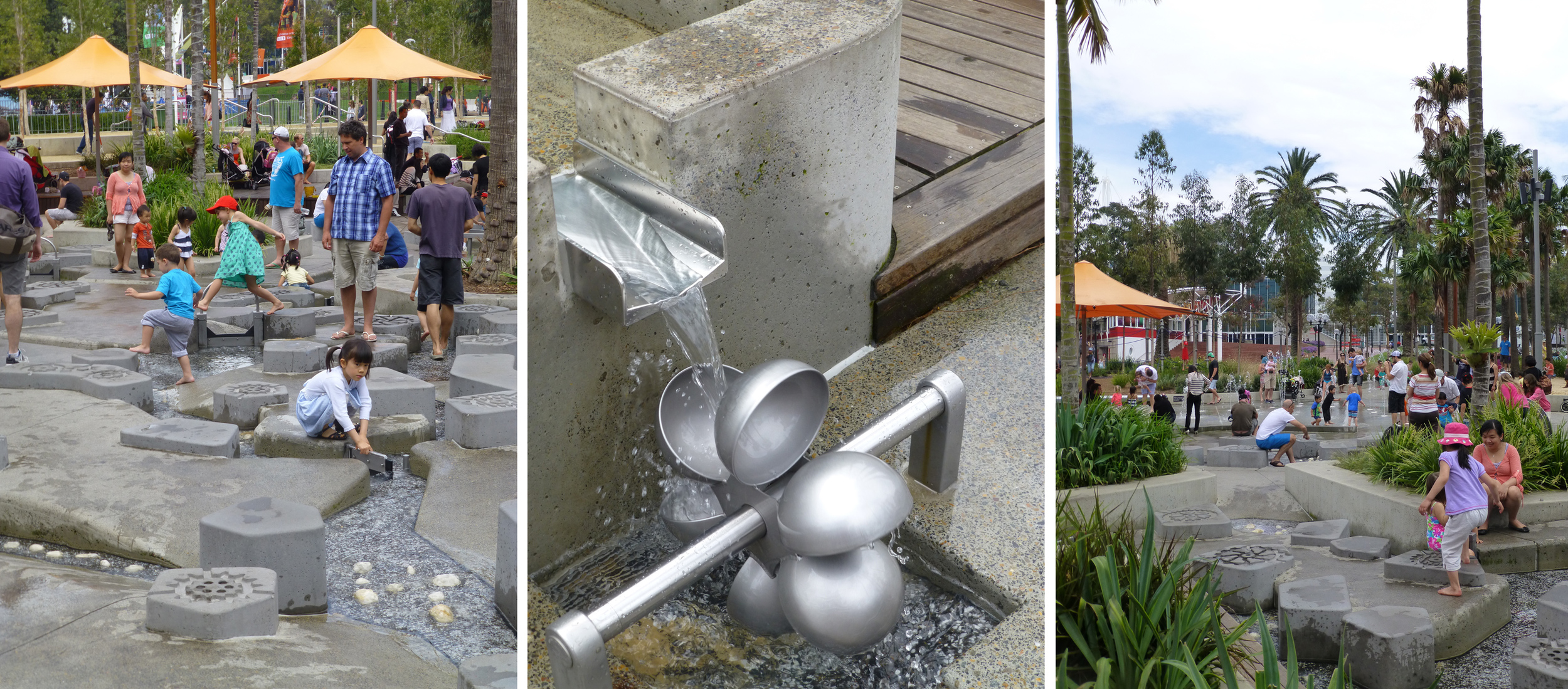 Meanwhile outside its a sunny day, perfect for families playing in the new water feature at Darling Harbour.