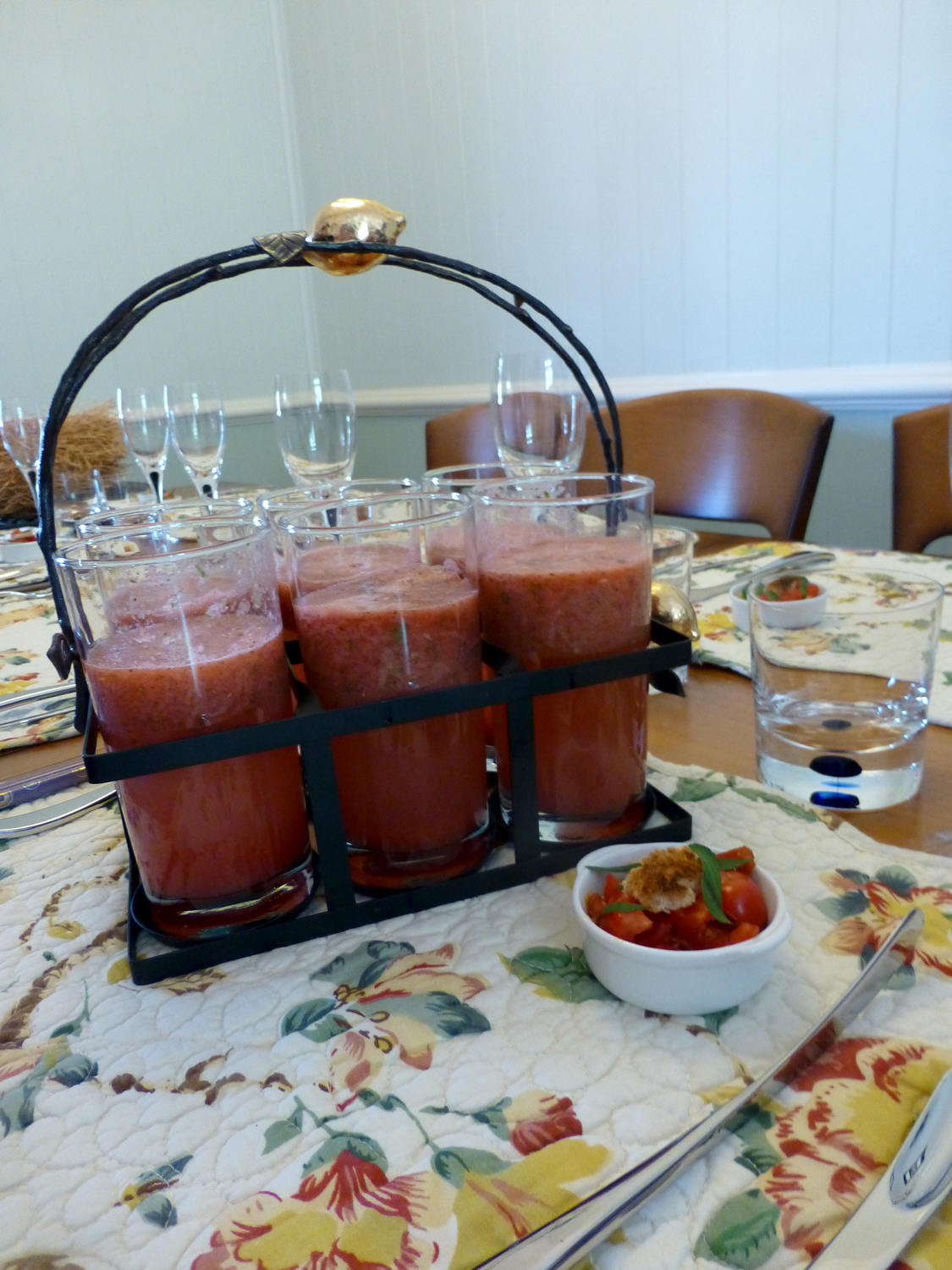 Watermelon and Mint Lemonade with antipasto appetiser.