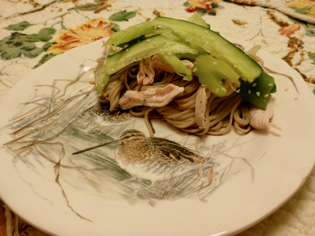 Poached chicken and noodles with sesame seed, cucumber, celery and snow pea salad.