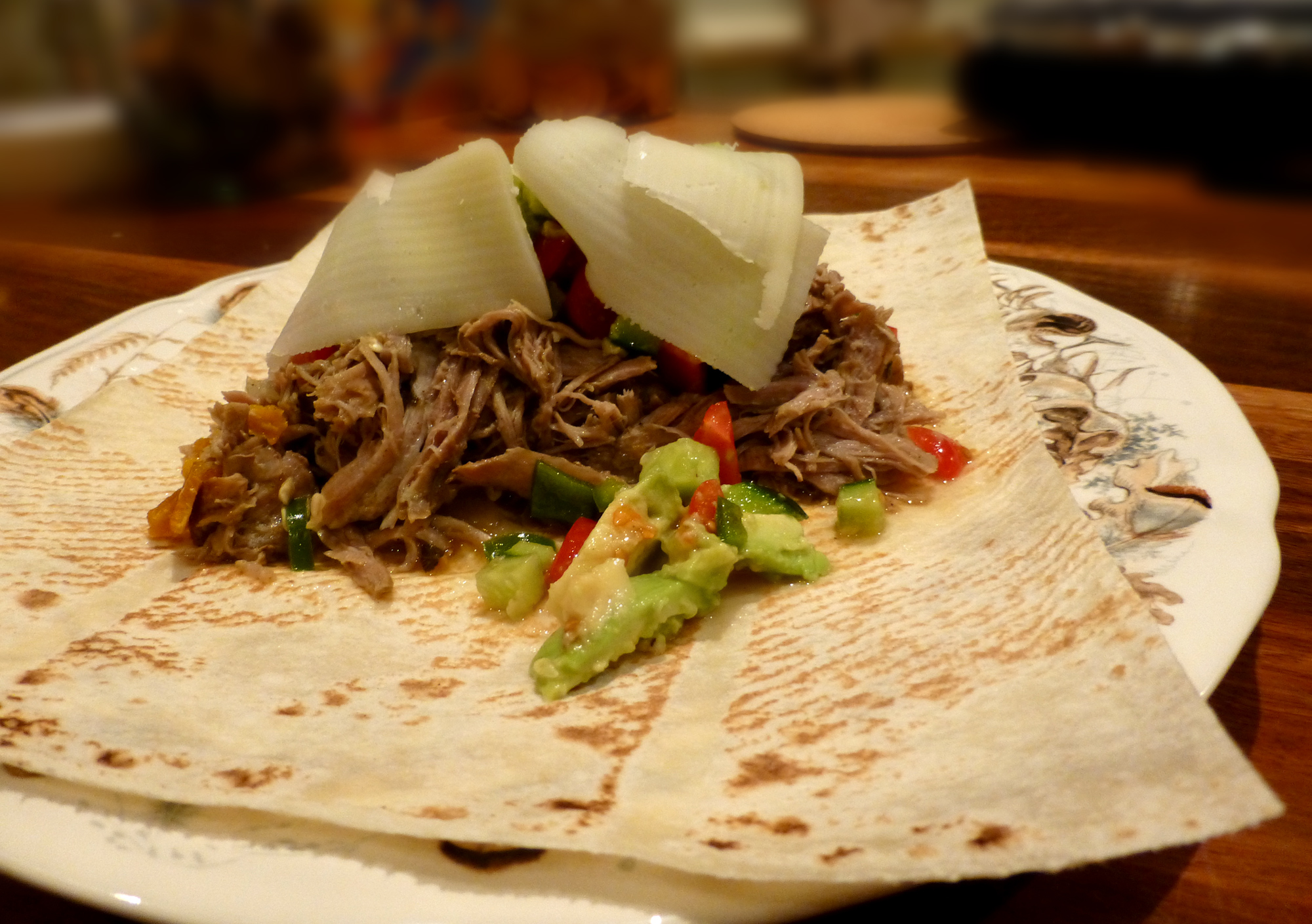 Tacos of slow-cooked-pull-apart pork with guacamole salsa. (I originally served this on round roti breads but I was too busy chatting I forgot to photograph it at the time, so this is the evenings leftovers-remake version)