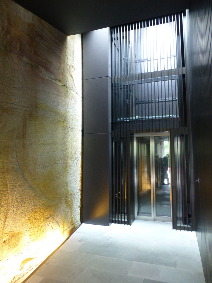 The James Bond inspired lift entrance by the garage