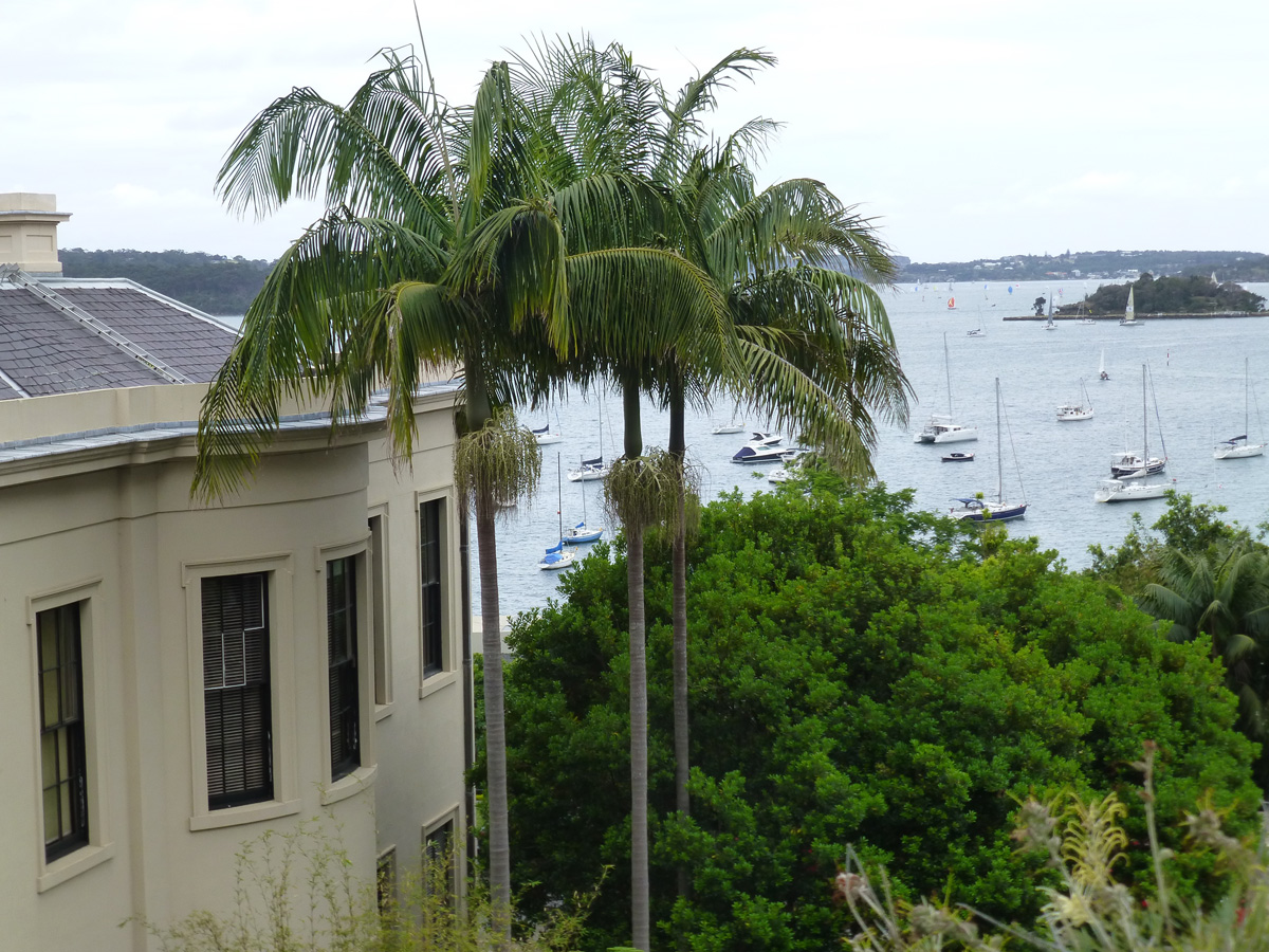 The view from the rear garden overlooking Elizabeth Bay House and the harbour