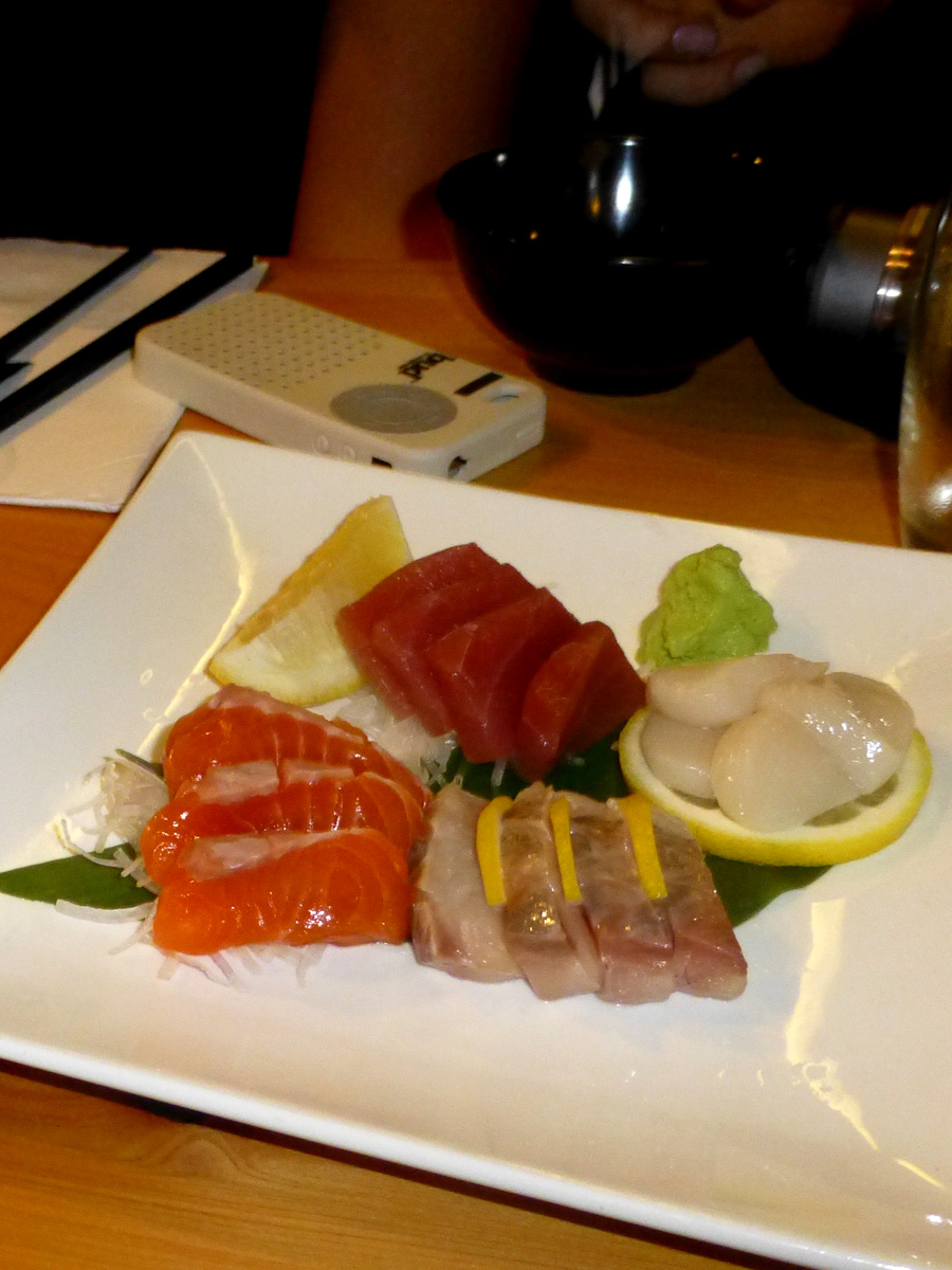The sashimi was nice and fresh, locally sourced and paired well with sake.