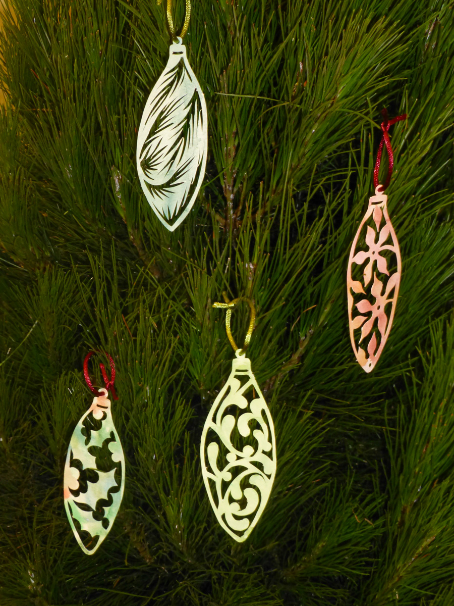 Papercut baubles made to fill the crackers for Christmas Eve.