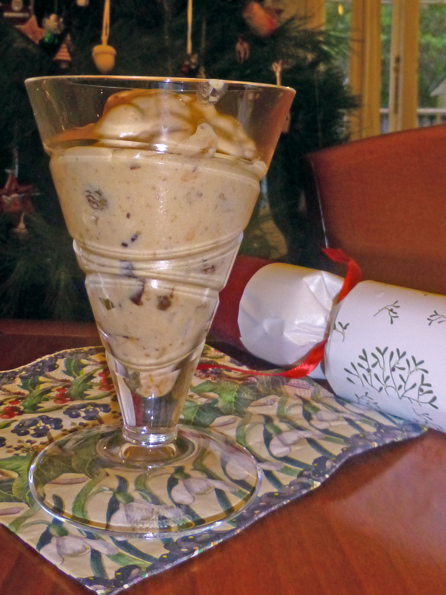 Christmas Pudding ice-cream to finish with my special blend of fruit mince with plenty of rum and vanilla.