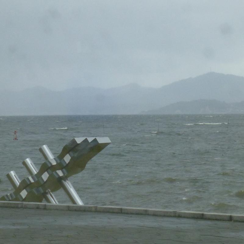 Lake Shinji in the rain